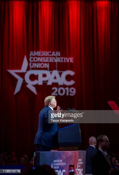US President Donald Trump speaks during CPAC 2019 on March 02 2019 in National Harbor Maryland The American Conservative Union hosts the annual...