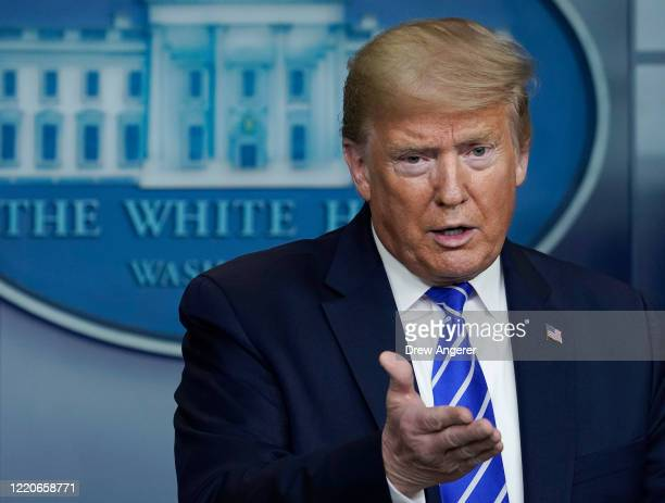 President Donald Trump speaks during daily briefing of the coronavirus task force at the White House on April 23, 2020 in Washington, DC. The House...