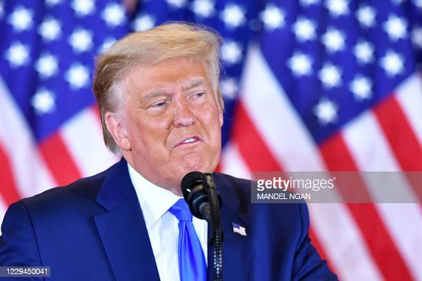 President Donald Trump speaks during election night in the East Room of the White House in Washington, DC, early on November 4, 2020.