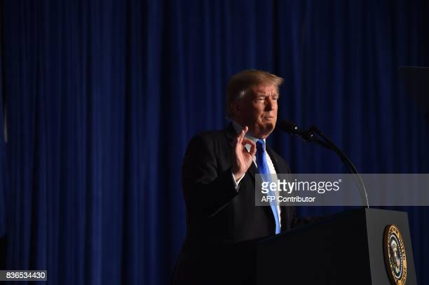 US President Donald Trump speaks during his address to the nation from Joint Base MyerHenderson Hall in Arlington Virginia on August 21 2017 Trump...