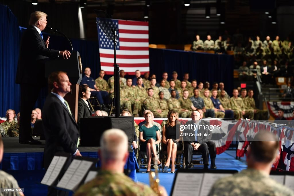 US President Donald Trump speaks during his address to the nation from Joint Base Myer-Henderson Hall in Arlington, Virginia, on August 21, 2017. Trump warned Monday that the Afghan government should not view US support as a 'blank check,' in an address to the nation on the 16-year conflict. 'America will work with the Afghan government as long as we see determination and progress,' Trump said. PHOTO / Nicholas Kamm
