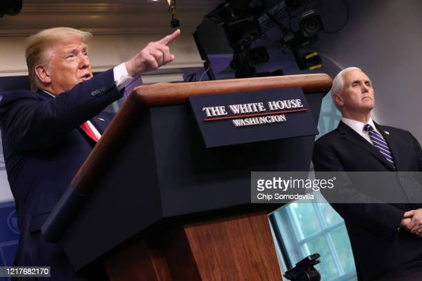 President Donald Trump speaks during his coronavirus task force briefing in the Brady Press Briefing Room at the White House on April 08, 2020 in...