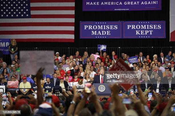 President Donald Trump speaks during his Make America Great Again Rally at the Florida State Fair Grounds Expo Hall on July 31 2018 in Tampa Florida...