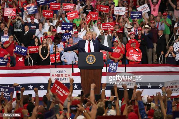 S President Donald Trump speaks during his rally where he announced his candidacy for a second presidential term at the Amway Center on June 18 2019...