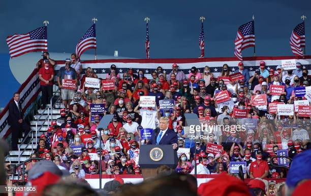 President Donald Trump speaks during his 'The Great American Comeback Rally' at Cecil Airport on September 24 2020 in Jacksonville Florida President...