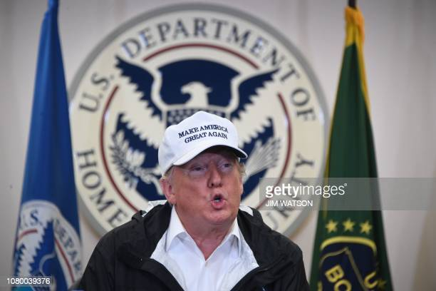 US President Donald Trump speaks during his visit to US Border Patrol McAllen Station in McAllen Texas on January 10 2019 Trump travels to the...