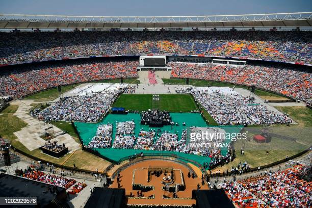 US President Donald Trump speaks during 'Namaste Trump Rally' at Sardar Patel Stadium in Motera on the outskirts of Ahmedabad on February 24 2020