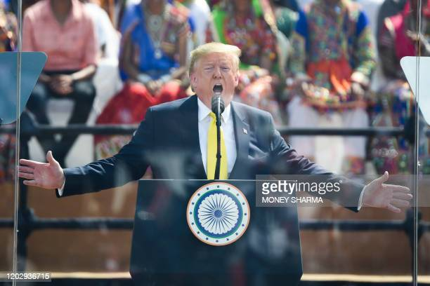 US President Donald Trump speaks during 'Namaste Trump' rally at Sardar Patel Stadium in Motera on the outskirts of Ahmedabad on February 24 2020