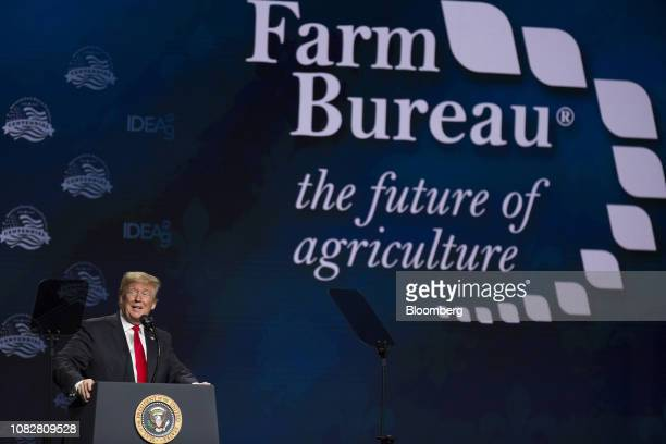 US President Donald Trump speaks during the 100th American Farm Bureau Federation Convention in New Orleans Louisiana US on Monday Jan 14 2019...