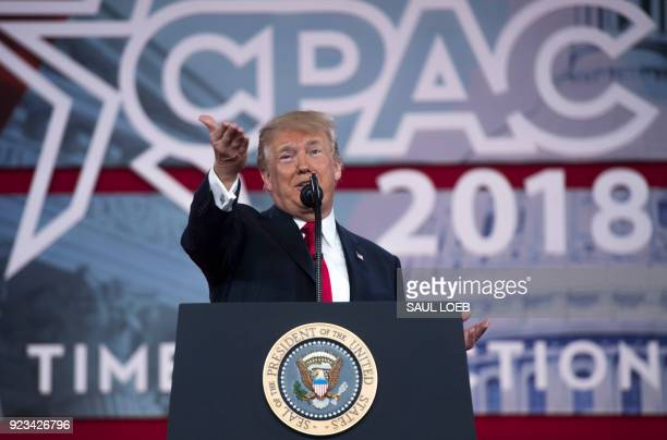 US President Donald Trump speaks during the 2018 Conservative Political Action Conference at National Harbor in Oxon Hill Maryland February 23 2018 /...