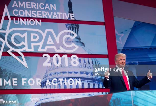 President Donald Trump speaks during the 2018 Conservative Political Action Conference at National Harbor in Oxon Hill Maryland February 23 2018