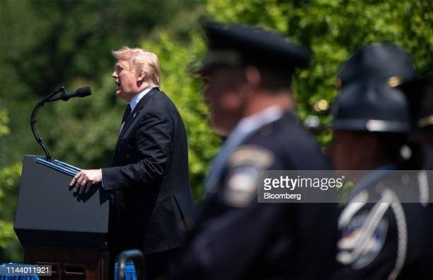 US President Donald Trump speaks during the 38th annual National Peace Officers Memorial Day service at the US Capitol in Washington DC US on...