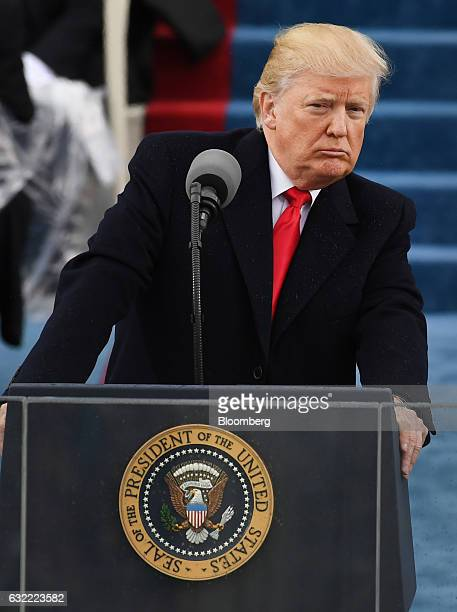 US President Donald Trump speaks during the 58th presidential inauguration in Washington DC US on Friday Jan 20 2017 Donald Trump became the 45th...