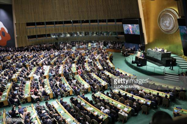 President Donald Trump speaks during the 74th Session of the United Nations General Assembly at UN Headquarters in New York, September 24, 2019.