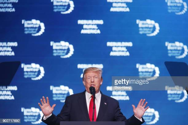 US President Donald Trump speaks during the annual American Farm Bureau Federation conference in Nashville Tennessee US on Monday Jan 8 2018 Trump...