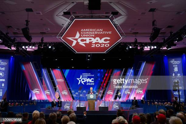 President Donald Trump speaks during the annual Conservative Political Action Conference at Gaylord National Resort Convention Center February 29...