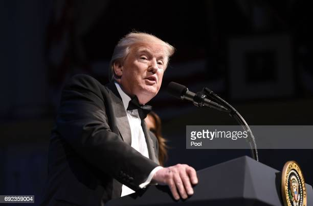 President Donald Trump speaks during the annual gala at the Ford's Theatre to honor President Abraham Lincoln's legacy on June 4 2017 in Washington DC