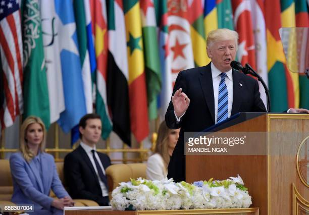 US President Donald Trump speaks during the Arab Islamic American Summit at the King Abdulaziz Conference Center in Riyadh on May 21 2017 Trump tells...