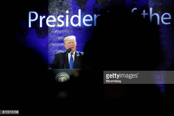 US President Donald Trump speaks during the AsiaPacific Economic Cooperation CEO Summit in Danang Vietnam on Friday Nov 10 2017 Trumptold Asian...