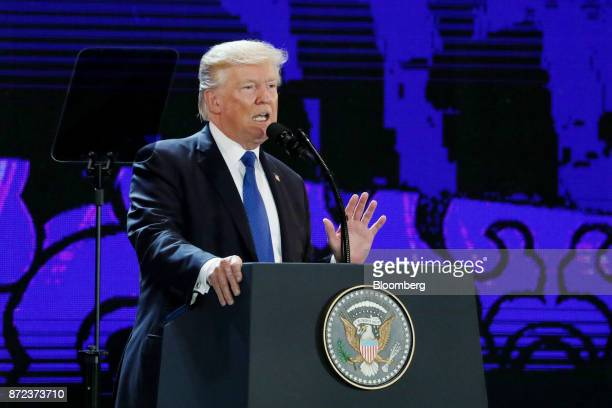 US President Donald Trump speaks during the AsiaPacific Economic Cooperation CEO Summit in Danang Vietnam on Friday Nov 10 2017 Trump told Asian...