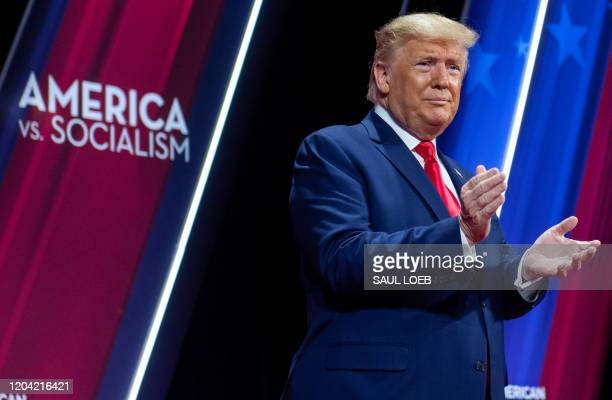 President Donald Trump speaks during the Conservative Political Action Conference at National Harbor in Oxon Hill, Maryland, February 29, 2020.