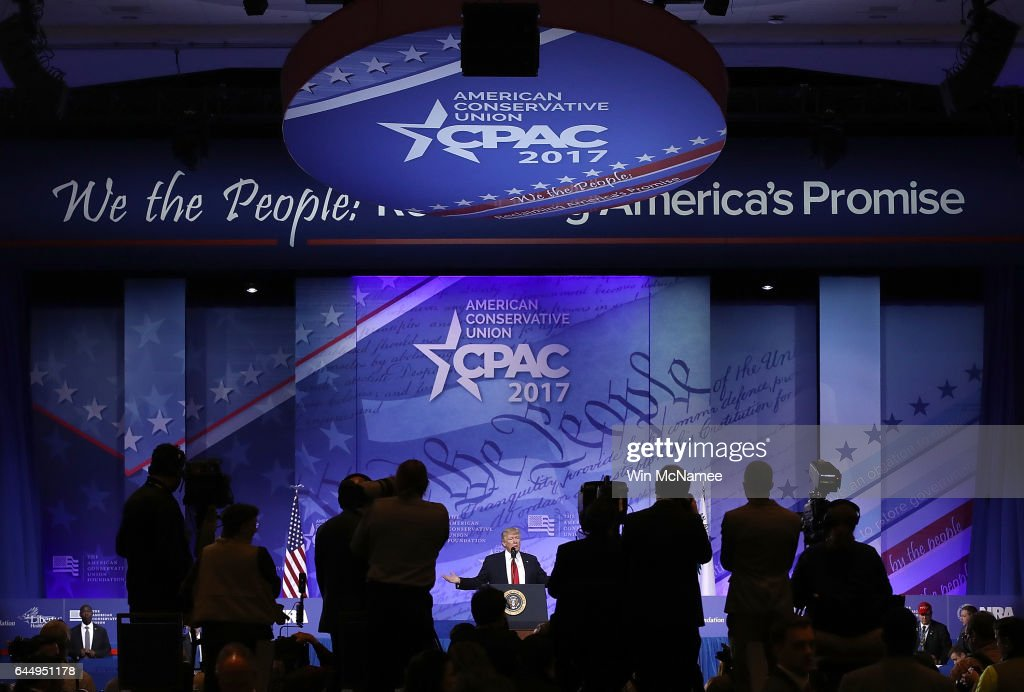 President Trump Addresses Annual CPAC Event In National Harbor, Maryland : News Photo