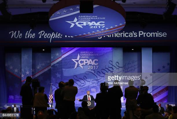 S President Donald Trump speaks during the Conservative Political Action Conference at the Gaylord National Resort and Convention Center February 24...