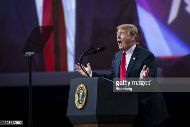 US President Donald Trump speaks during the Conservative Political Action Conference in National Harbor Maryland US on Saturday March 2 2019 Trump...