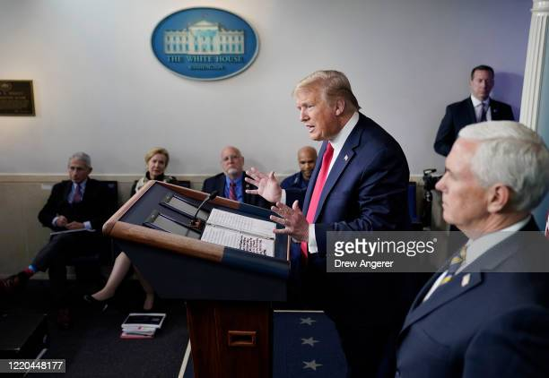 President Donald Trump speaks during the daily briefing of the coronavirus task force at the White House on April 22, 2020 in Washington, DC. Dr....