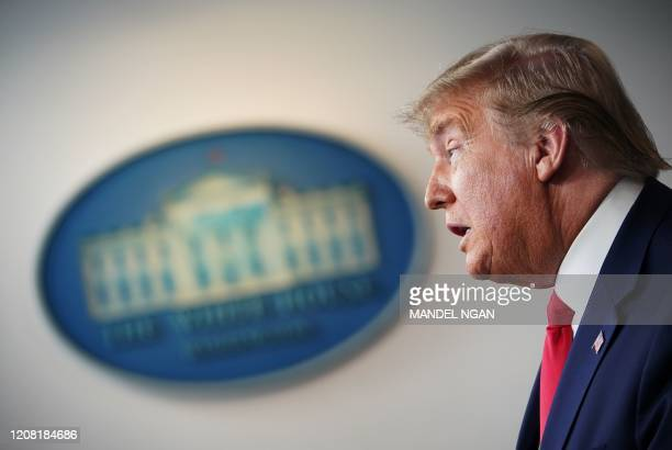 President Donald Trump speaks during the daily briefing on the novel coronavirus, COVID-19, at the White House on March 24 in Washington, DC.