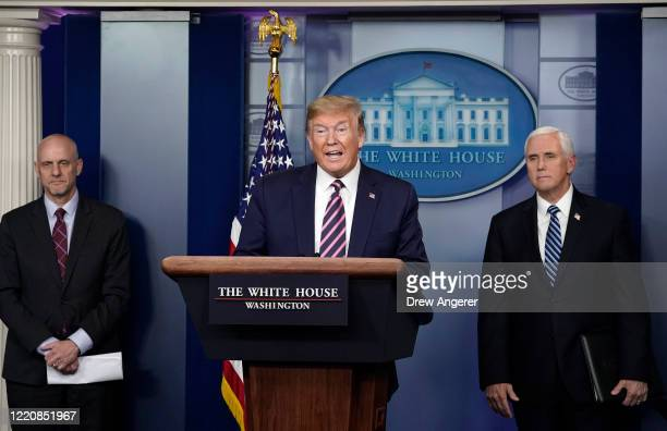 President Donald Trump speaks during the daily coronavirus task force briefing at the White House on April 24, 2020 in Washington, DC. Earlier on...