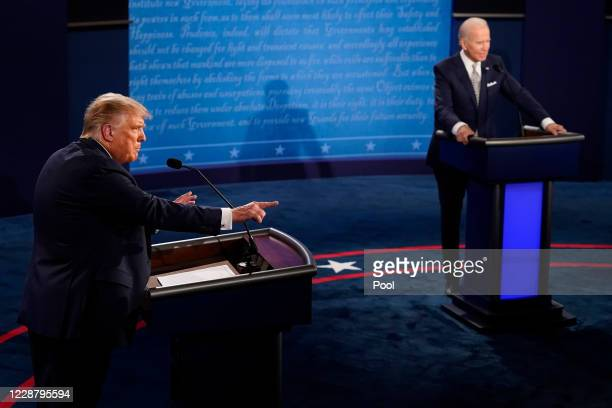 President Donald Trump speaks during the first presidential debate against former Vice President and Democratic presidential nominee Joe Biden at the...