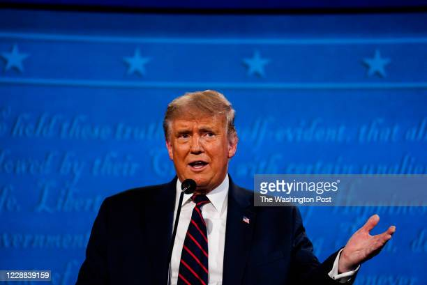 President Donald Trump speaks during the first presidential debate with former Vice President Joe Biden at Case Western Reserve University in...
