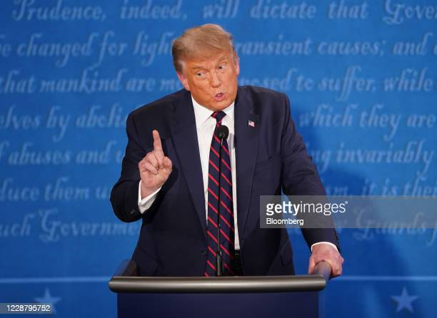 President Donald Trump speaks during the first U.S. Presidential debate hosted by Case Western Reserve University and the Cleveland Clinic in...