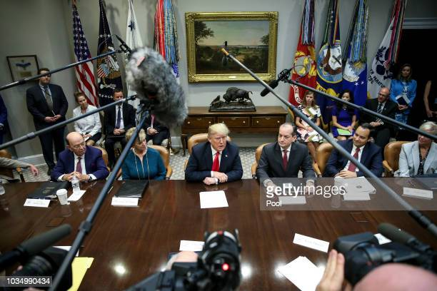 S President Donald Trump speaks during the inaugural meeting of the Presidents National Council for the American Worker in the Roosevelt Room of the...