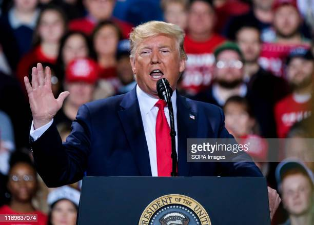 President Donald Trump speaks during the Merry Christmas rally at the Kellog Arena in Battle Creek Michigan