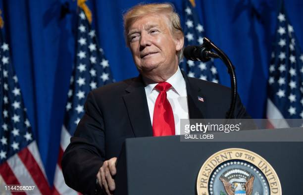 US President Donald Trump speaks during the National Association of Realtors Legislative Meetings and Trade Expo in Washington DC on May 17 2019...
