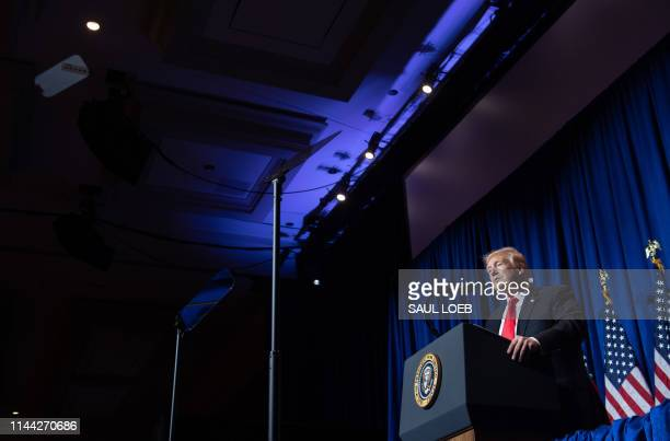 US President Donald Trump speaks during the National Association of Realtors Legislative Meetings and Trade Expo in Washington DC on May 17 2019