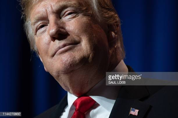 US President Donald Trump speaks during the National Association of Realtors Legislative Meetings and Trade Expo in Washington DC May 17 2019