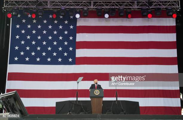 President Donald Trump speaks during the National Boy Scout Jamboree at Summit Bechtel National Scout Reserve in Glen Jean West Virginia July 24 2017...