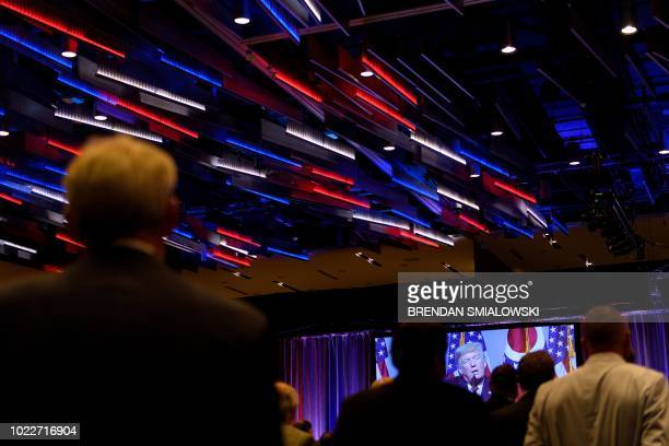 US President Donald Trump speaks during the Ohio Republican Party State Dinner at the Greater Columbus Convention Center August 24 2018 in Columbus...