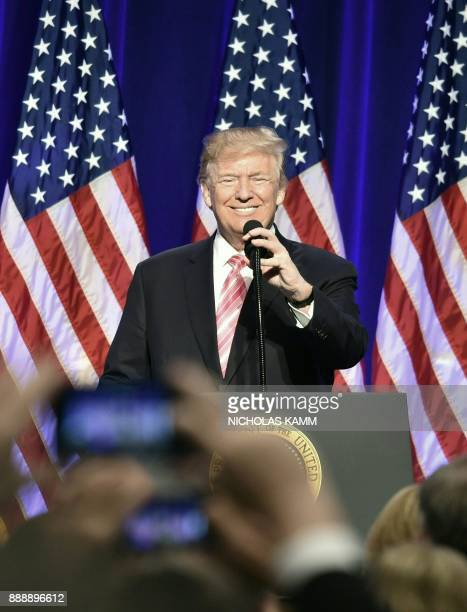 US President Donald Trump speaks during the opening of the Mississippi Civil Rights Museum in Jackson Mississippi December 9 2017 The Mississippi...