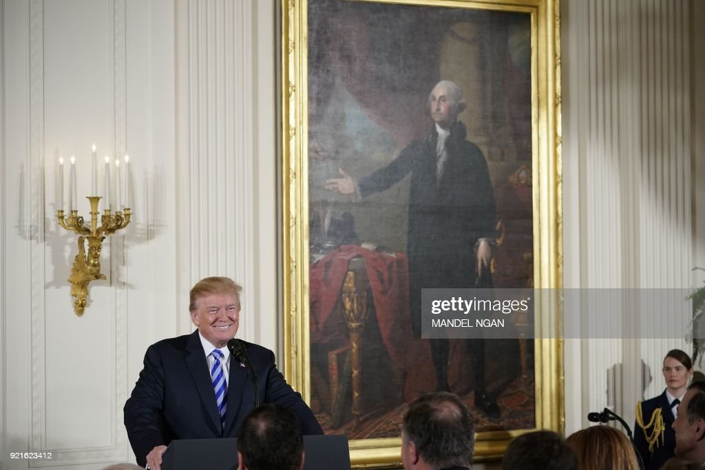 US President Donald Trump speaks during the Public Safety Medal of Valor Awards Ceremony in the East Room of the White House on February 20, 2018 in Washington, DC. PHOTO / Mandel NGAN