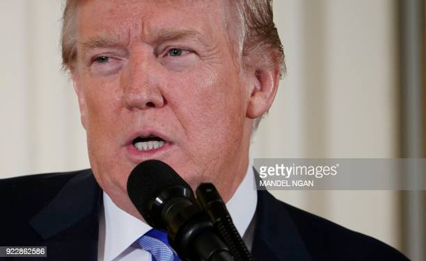 US President Donald Trump speaks during the Public Safety Medal of Valor Awards Ceremony in the East Room of the White House on February 20 2018 in...