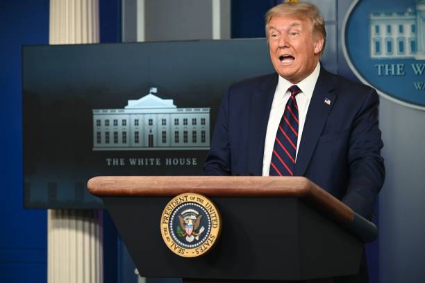 DC: President Donald Trump Holds White House Press Briefing