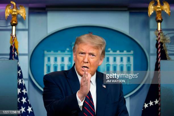 President Donald Trump speaks during the renewed briefing of the Coronavirus Task Force in the Brady Briefing Room of the White House on July 21 in...
