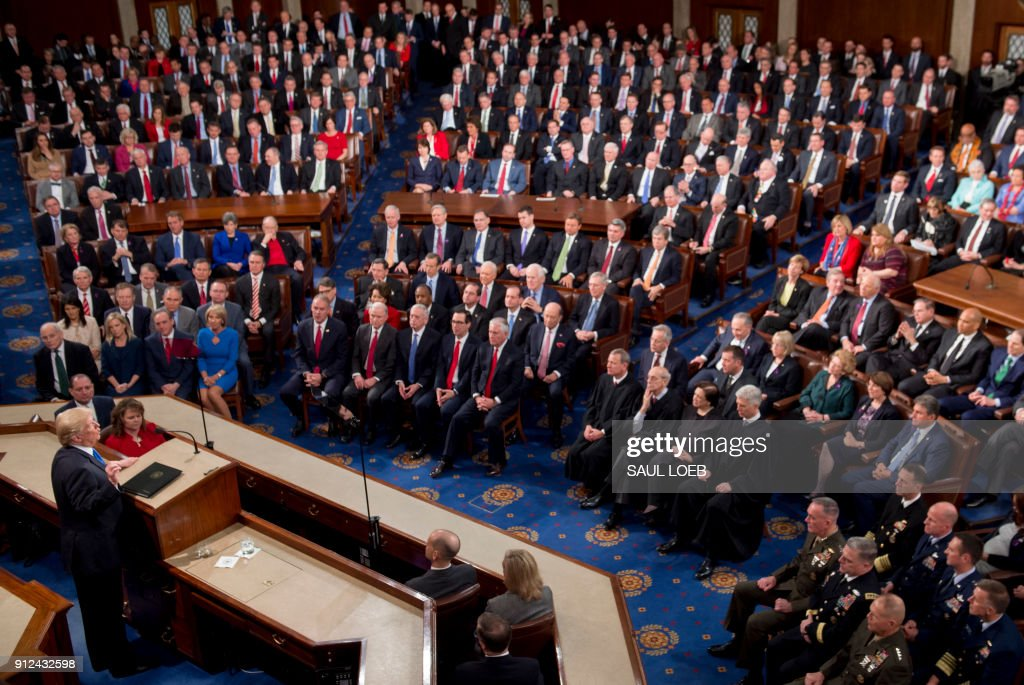US President Donald Trump speaks during the State of the Union Address before a Joint Session of Congress at the US Capitol in Washington, DC, January 30, 2018. /