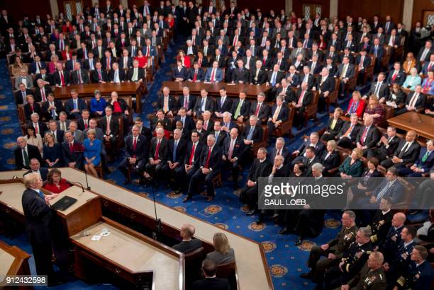President Donald Trump speaks during the State of the Union Address before a Joint Session of Congress at the US Capitol in Washington, DC, January...