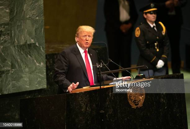Recep Tayyip Erdogan Turkey's president speaks during the UN General Assembly meeting in New York US on Tuesday Sept 25 2018 Erdogan said that 'trade...