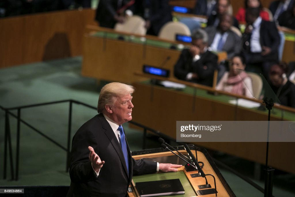U.S. President Donald Trump speaks during the UN General Assembly meeting in New York, U.S., on Tuesday, Sept. 19, 2017. Trumptold world leaders in his first address to the United Nations that they must confront a handful of 'rogue regimes,' singling out North Korea and vowing that if the dispute over its nuclear program leads to war, the country would be destroyed. Photographer: Caitlin Ochs/Bloomberg via Getty Images